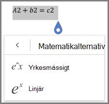Visar matematisk ekvation format