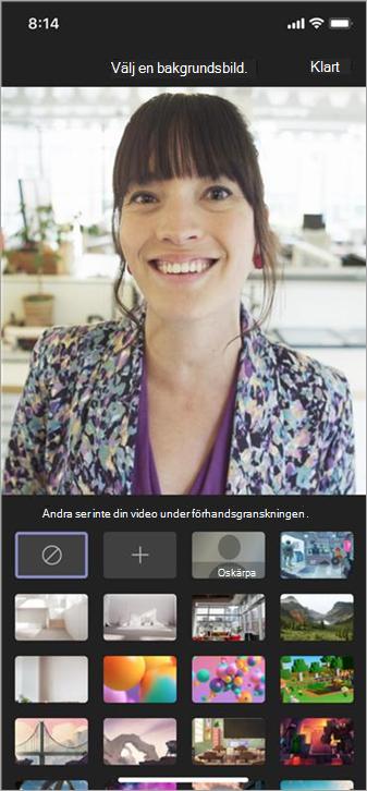 Tillgängliga alternativ för bakgrunder på mobilvideo