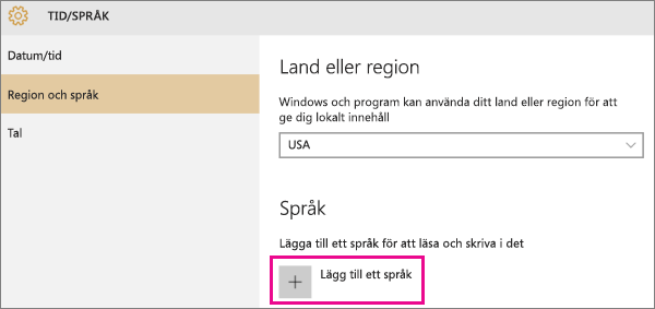 Lägga till ett språk i Windows 10