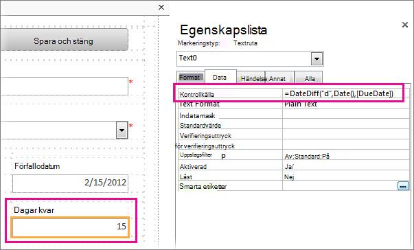 Infoga funktionen DatumDiff i egenskapen Kontrollkälla i en textruta.
