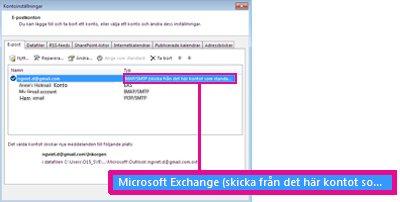 Microsoft Exchange-konto som det visas i dialogrutan Kontoinställningar