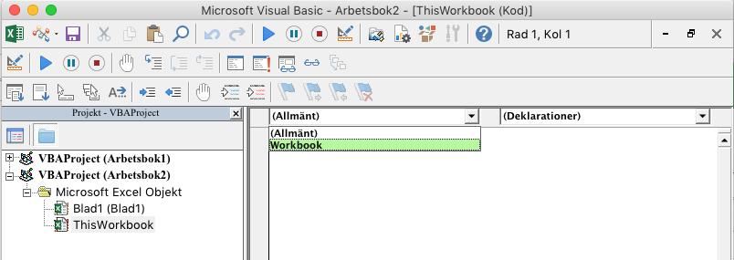 VBE Editor visar listruta för val av objekt_C3_2017109141018