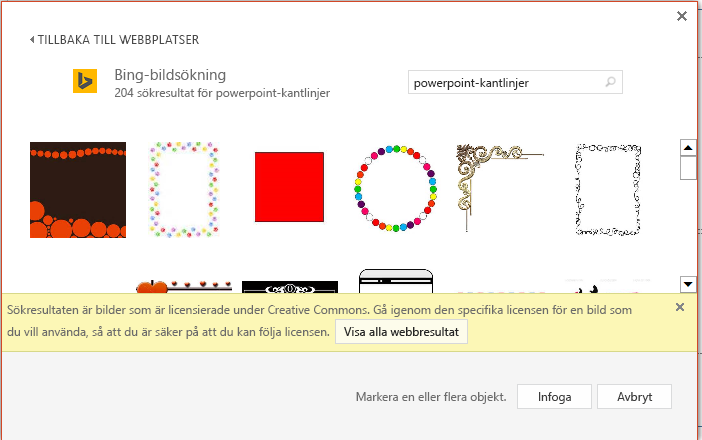 Resultat av en sökning efter PowerPoint-kantlinjer i Bing.