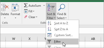 Start > Sortera och filtrera > Filter