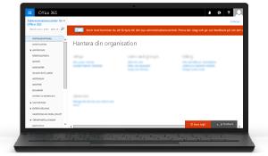 Bild på administrationscentret för Office 365. Mer information om administrationscentret för Office 365