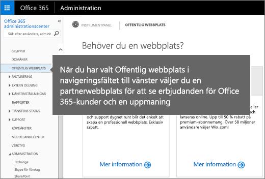 Välj Offentlig webbplats i Office 365