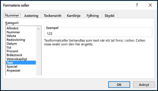 Dialogrutan Formatera celler med fliken Tal och alternativet Text markerat
