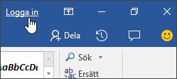Skärmdump som visar inloggningslänk i ett Office-skrivbordsprogram