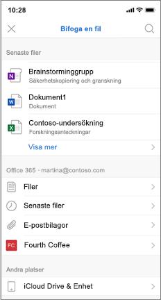 Mobil skärm med lista över senaste och iCloud-filer