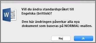 Språkstandard i Office för Mac