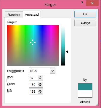 Alternativet för anpassad blandning av färger