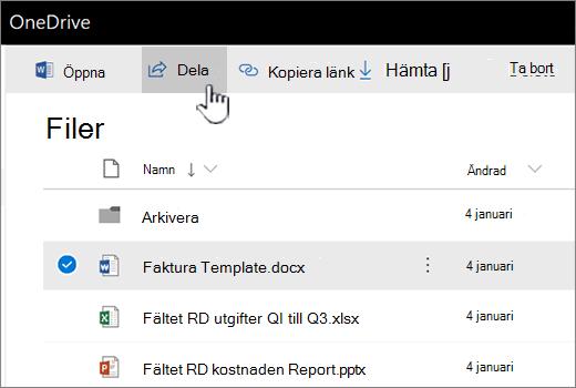 OneDrive med fil markerad och ha skjutits knappen Dela