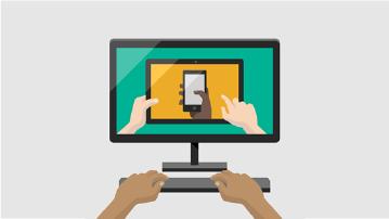 Illustration av dator med bild på mobil enhet på skärmen