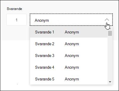 Visa en listrutan med svarande i Microsoft Forms