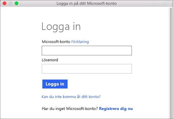 Ange autentiseringsuppgifterna för ditt Microsoft-konto för att få åtkomst till tjänster som är associerade med ditt konto.