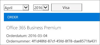 Skärmbild som visas sidan Fakturor i administrationscentret för Office 365.