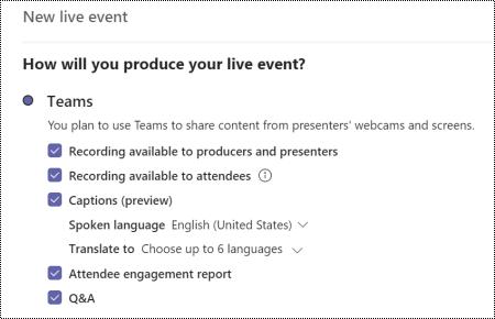 Dialog ruta där du kan välja alternativet frågor och svar för Teams Live Event när du schemalägger en händelse.