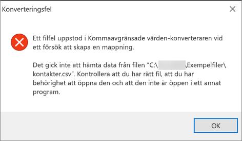 Det här felmeddelandet visas om .csv-filen är tom.