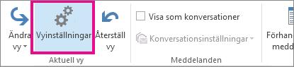 Klicka på Vyinställningar på fliken Visa.