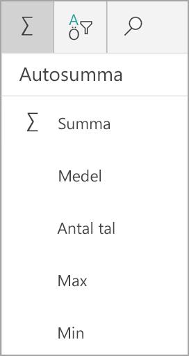 Summa för Windows-surfplatta i Excel