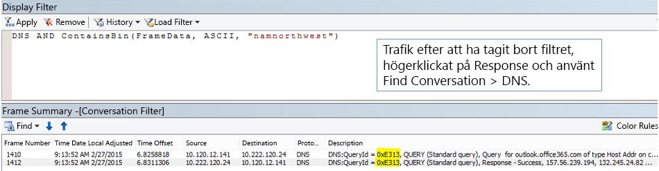 En spårning filtrerad efter Hitta konversationer och sedan efter DNS.