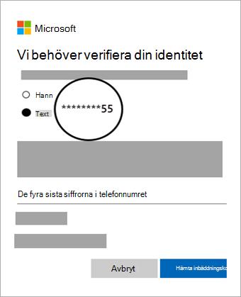Skärmbild av vald verifikationsalternativ för att få kod
