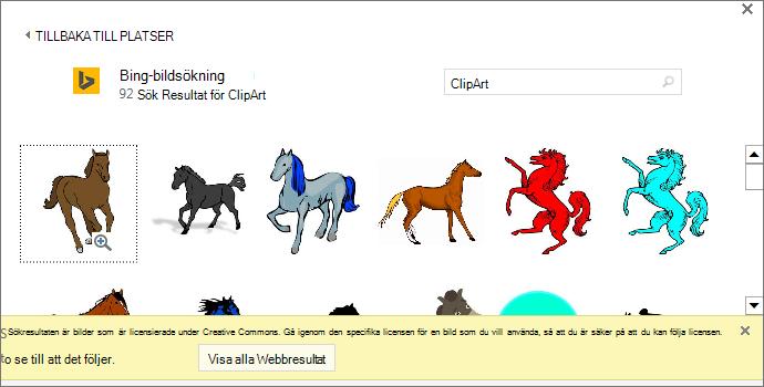 """En sökning efter """"häst clipart"""" ger dig en mängd olika bilder med en Creative Commons-licens."""