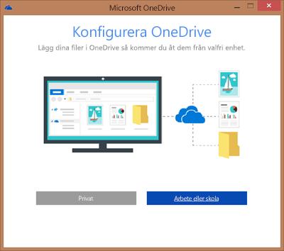 Skärmbild av dialogrutan Konfigurera OneDrive vid konfigurering av OneDrive för företag för synkronisering
