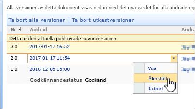 Listrutan Versionshantering för fil med Återställ markerat