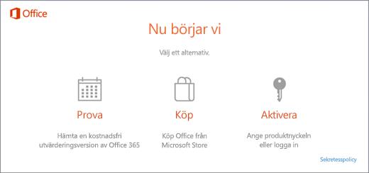 En skärmbild med standardalternativen för att prova, köpa eller aktivera en dator som levereras med Office förinstallerat.