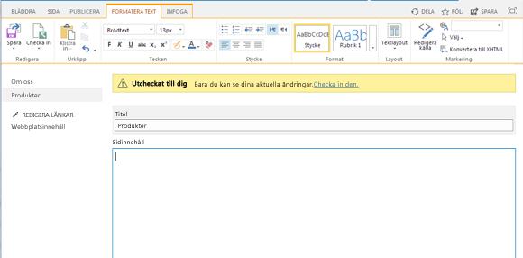 Skärmdump på en ny publiceringssida med ett gult fält som indikerar att sidan är utcheckad