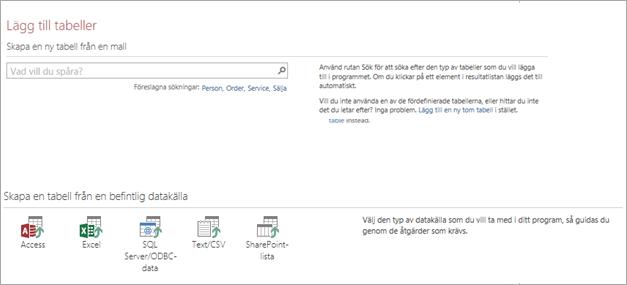 Lägga till tabeller i en Access-webbapp