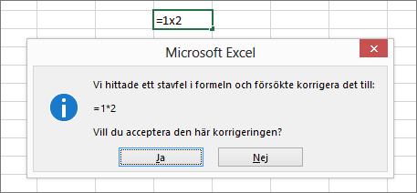Meddelanderuta som frågar om du vill ersätta x med * för multiplikation