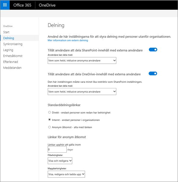 Fliken Dela i OneDrive admin Center