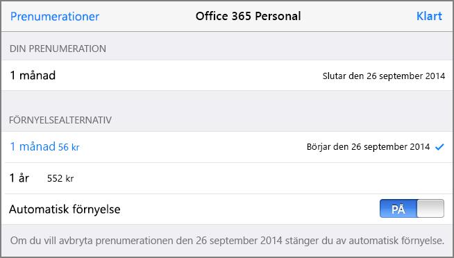 Prenumerationsalternativ i App Store