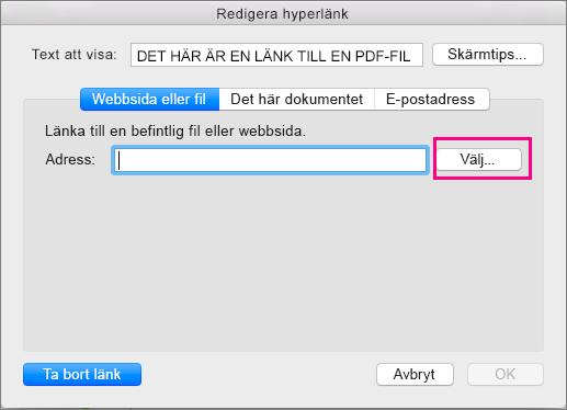 Visar dialogrutan Infoga hyperlänk i PowerPoint 2016 för Mac