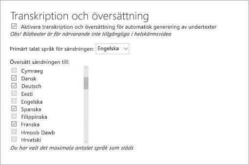 Aktivera transkription och översättning
