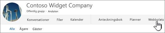 Office 365 personer grupper-menyn med webbplats markerat