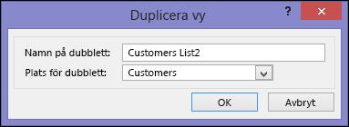Dialogrutan kopieringsvy med namnet på kopieringsrutan och platsen för kopieringsrutan.