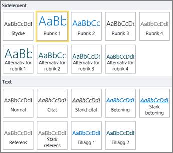 Skärmbild av sidelement och textformat som finns i gruppen Format i menyfliksområdet i SharePoint Online.