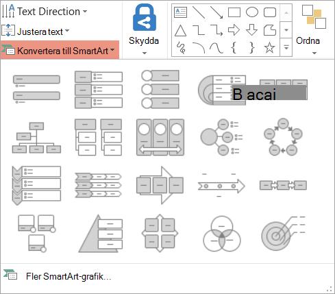 Visar alternativen i rutan konvertera till SmartArt-galleriet