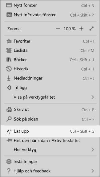 Inställningar för listrutemenyn i webbläsaren Edge