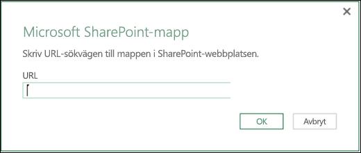Excel Power BI – Dialogruta för koppling till SharePoint-mapp