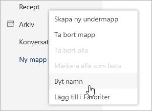 En skärmbild av snabbmenyn för mappar med Byt namn på markerat