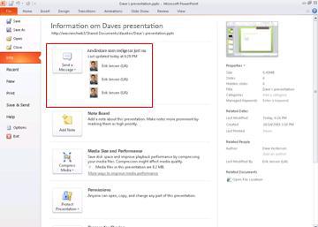Personer som för närvarande redigerar presentationen och hur du skickar ett meddelande till dem