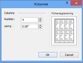 Skärmbild av fler kolumner för Verktyg för textruta i Publisher.