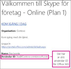 Ett exempel på välkomstmeddelandet du får via e-post när du har registrerat dig för Skype för företag – online. Det innehåller ditt Office 365-användar-ID.