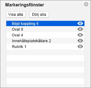 Visar markeringsfönstret i PowerPoint 2016 för Mac