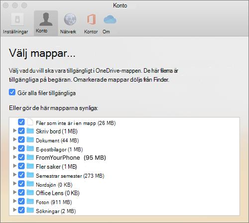 Dialog rutan Välj mappar under fönstret inställningar för OneDrive för Mac
