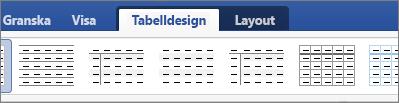 Visar flikarna Tabelldesign och Layout för hantering av tabeller